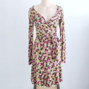 Issa London Silk Cat Kitty Print Wrap Dress Size 6